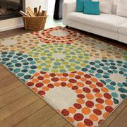 Orian Rugs Indoor Outdoor Bright Polka Circles Multi Area Rug