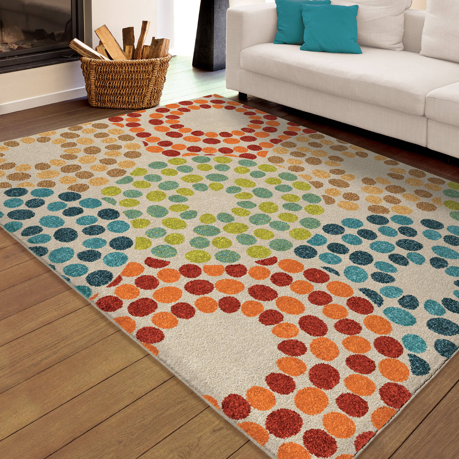 Orian Rugs Indoor/Outdoor Bright Polka Circles Multi Area Rug