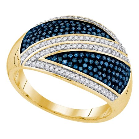 Blue Diamond Dome Band Solid 10k Yellow Gold Cocktail Ring Round Cluster Style Fashion Polished 1/2 ctw