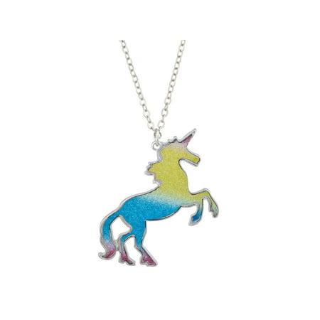 Lux Accessories Silver Tone Pastel Color Glitters Unicorn Pendant Charm - Silver Tone Pastel