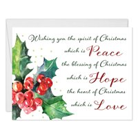 Christmas Greeting Cards with Envelopes ( Set of 25 ) Lovely Seasonal Spirit Peace Hope Love Blessings to Family & Friends, 25 Holiday Folded & Boxed Blank Cards Excellent Value by Digibuddha VH0033B