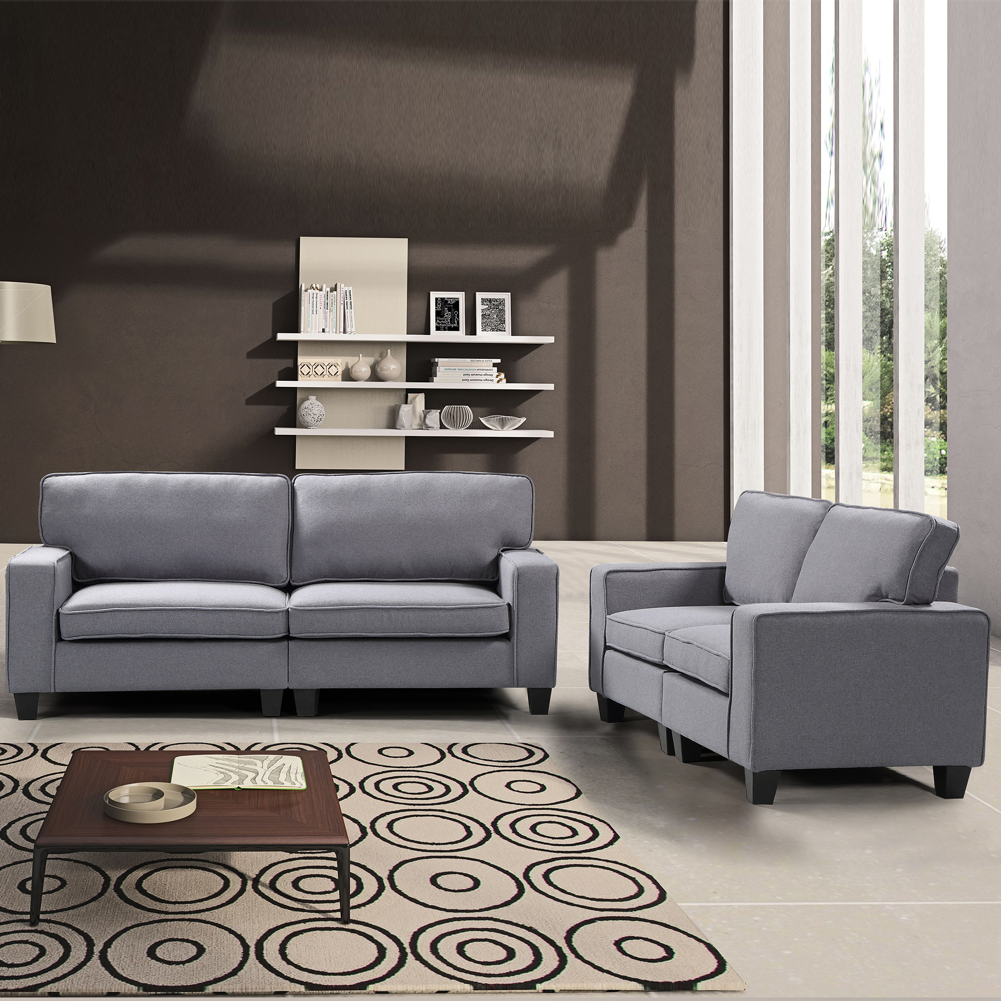 Harper&Bright Designs 2 Piece Living Room Upholstered Sofa and Loveseat Set , Multiple Colors