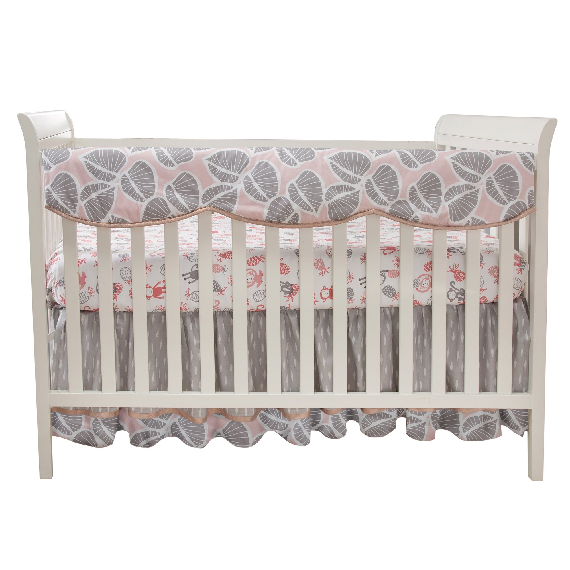 Lambs & Ivy Calypso Crib Rail Cover - Pink, Gray, Gold, White, Jungle, Outdoors