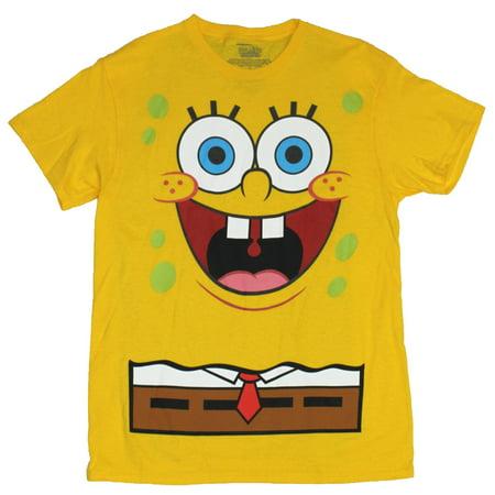 Spongebob Squarepants No Pants (Spongebob Squarepants Mens T-Shirt  - Standard Yellow Face Bob With Blue Cape (Medium,)