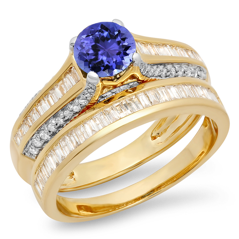 Dazzling Rock 14K Gold Round & Baguette Cut Tanzanite & W...