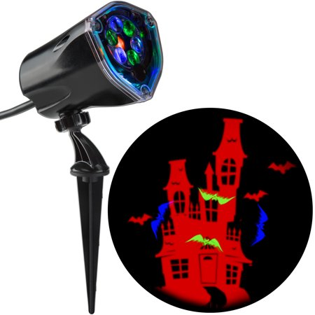 Halloween Lightshow Projection Plus-Whirl-a-Motion+Static-Bat w/ House by Gemmy Industries - Halloween Shadow Projection