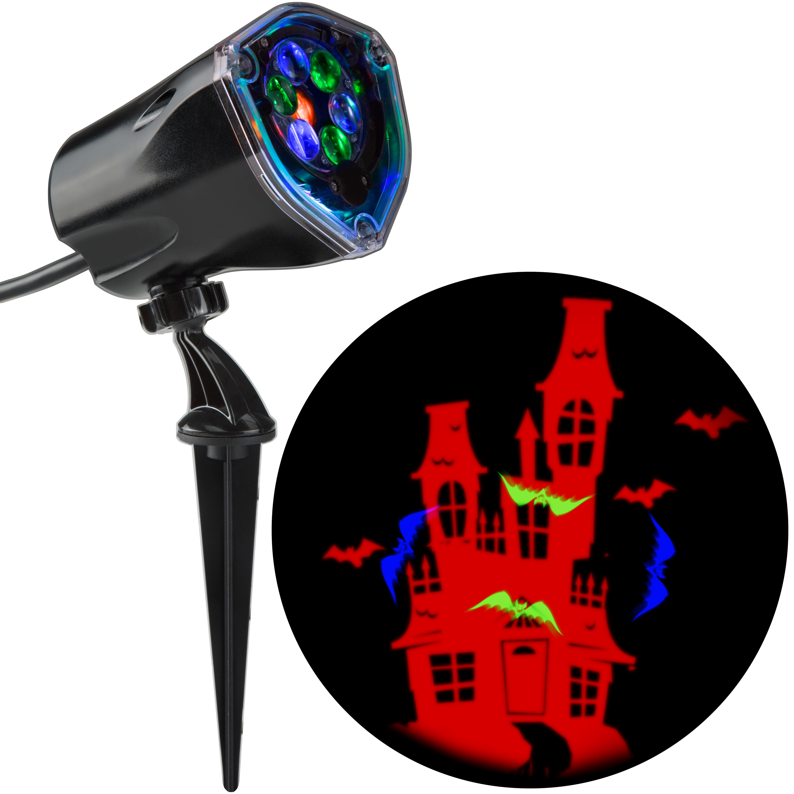 Halloween Lightshow Projection Plus-Whirl-a-Motion+Static-Bat w/ House by Gemmy Industries