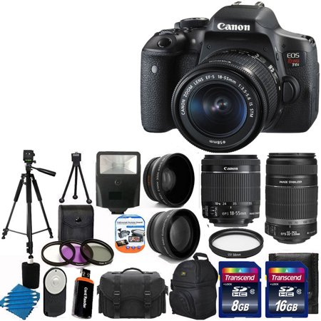 Canon EOS Rebel T6i DSLR Camera 18-55mm 55-250mm Lens Great Value Kit