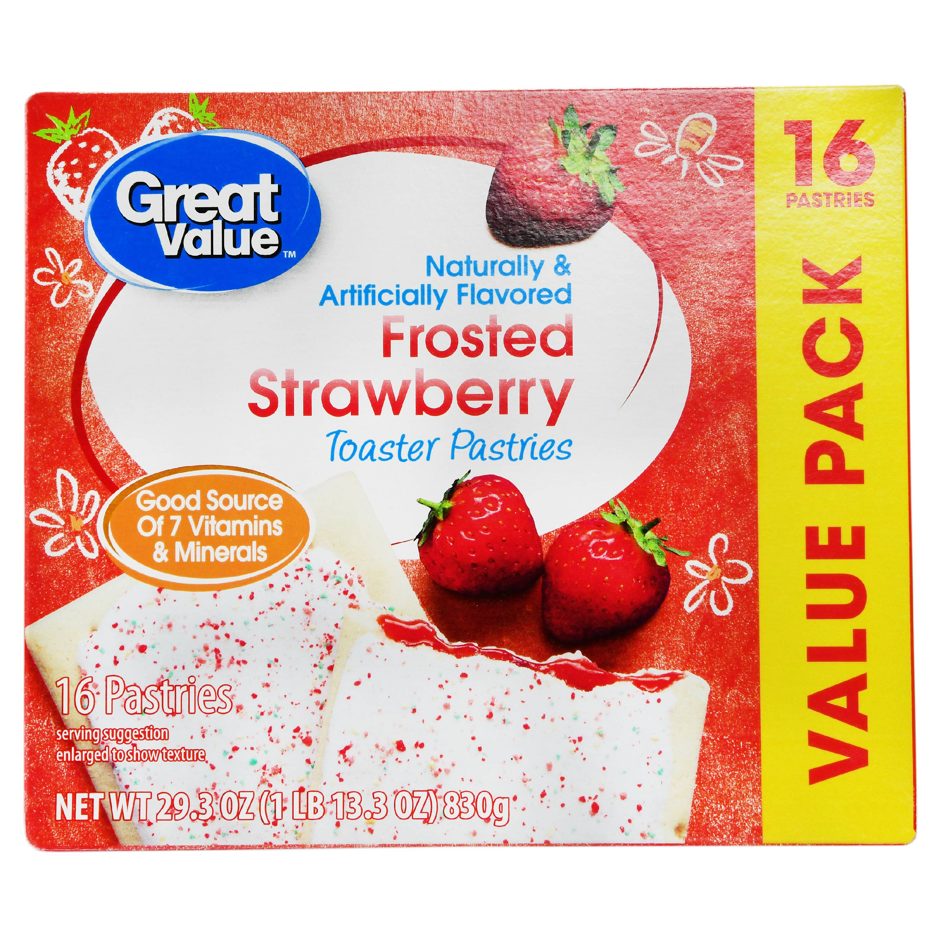 Great Value Frosted Toaster Pastries, Strawberry, 29.3 oz, 16 Count