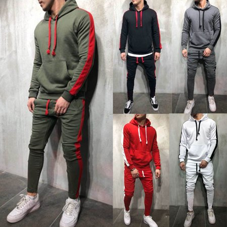 Men Tracksuit Set GYM Sports Hoodie Hooded Coat Top&Bottoms Jogging Joggers Suit