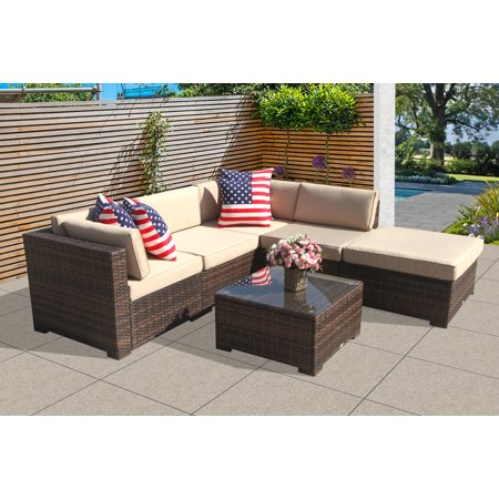 Patio Outdoor Furniture Sectional Sofa Set (6-Piece Set) All-Weather Brown Wicker with Beige  Seat Cushions &Glass Coffee Table| Patio, Backyard, Pool| Steel Frame ()