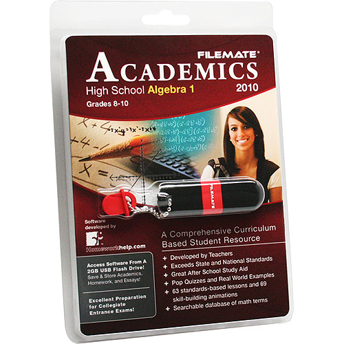 FileMate Academics High School Algebra 1 2010 2GB USB Drive Educational Software