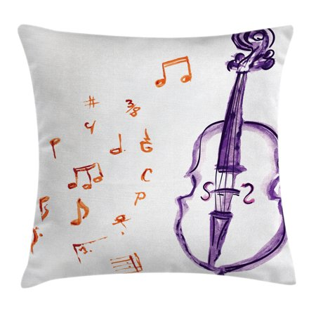 Music Decor Throw Pillow Cushion Cover, Musical Notes Instrument Violin Cello Watercolor Based White Backdrop Print, Decorative Square Accent Pillow Case, 18 X 18 Inches, Purple and Red, by Ambesonne](Musical Decor)