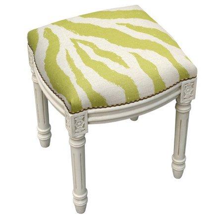 123 Creations Zebra Stripes Linen Upholstered Vanity Stool