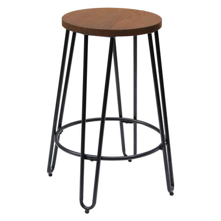 Quinn Round Wood-Top Backless Barstool