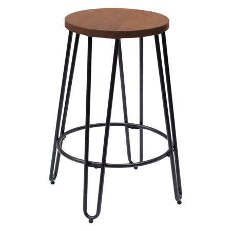 Round Bar Stools (Quinn Round Wood-Top Backless Barstool )