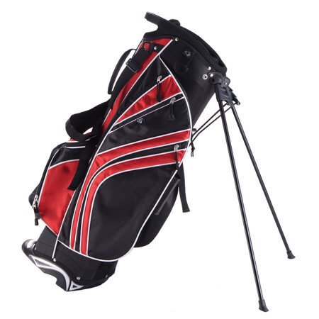 Costway Golf Stand Cart Bag Club w/6 Way Divider Carry Organizer Pockets Storage Red ()