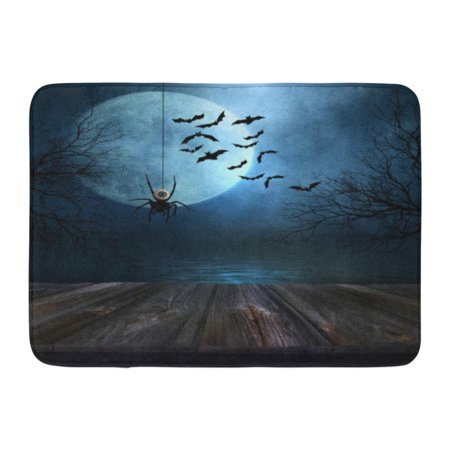 GODPOK Table Black Wood Wooden Floor with Spooky Halloween Blue Scary Autumn Rug Doormat Bath Mat 23.6x15.7 inch
