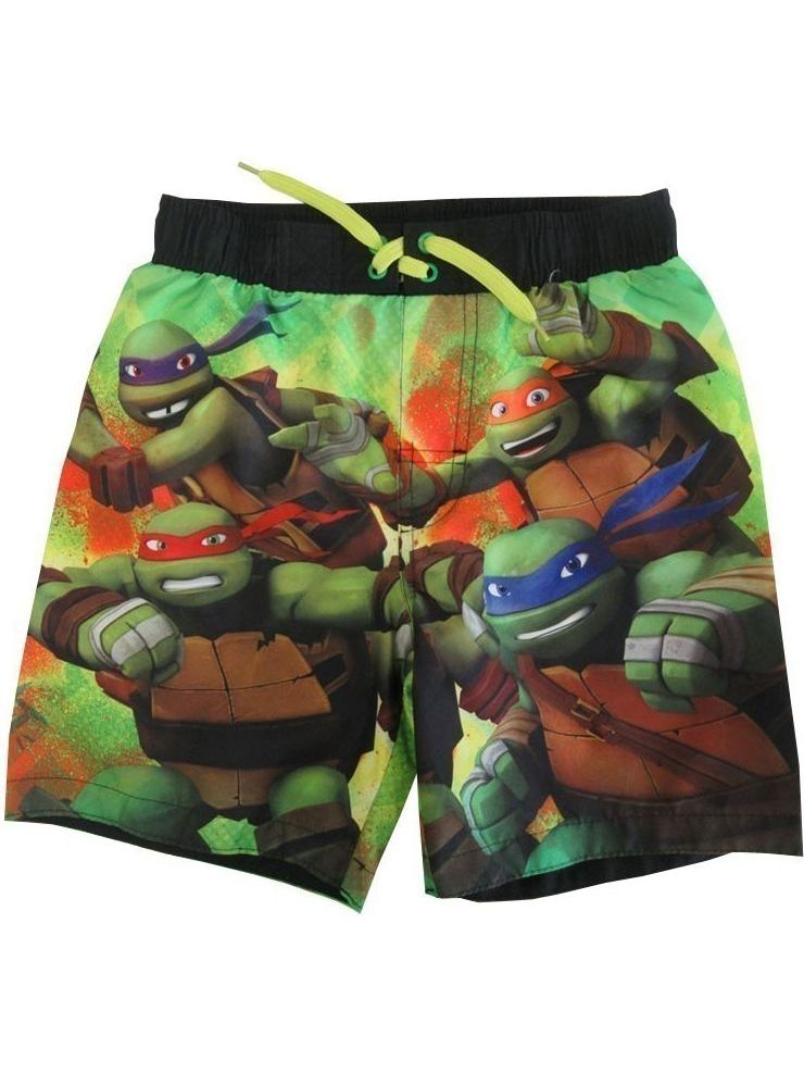 Nickelodeon Little Boys Green Black TMNT Adjustable Waist Swimwear Shorts