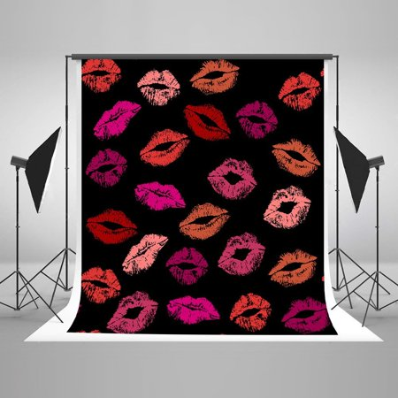 GreenDecor Polyester Fabric 5x7ft Red Lips on Black Background Backdrop Sweetheart Pattern Birthday Wall Decoration for Valentine's Day - Sweet 16 Decorations Red And Black