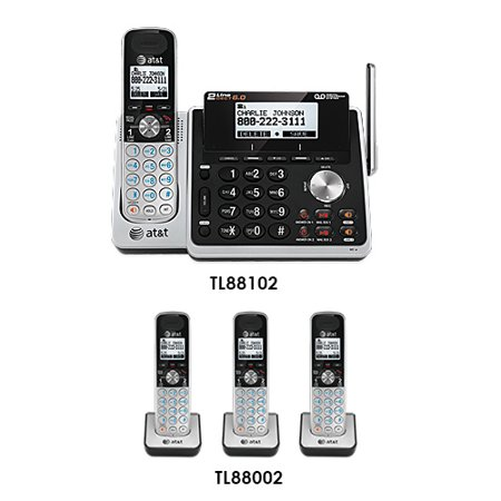 At Tl88102    3  Tl88002 Dect 6 0 2 Line 4 Handset Phone System W  Digital Answering System