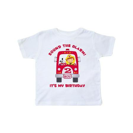 Fire Truck 2nd Birthday Boy Toddler T Shirt