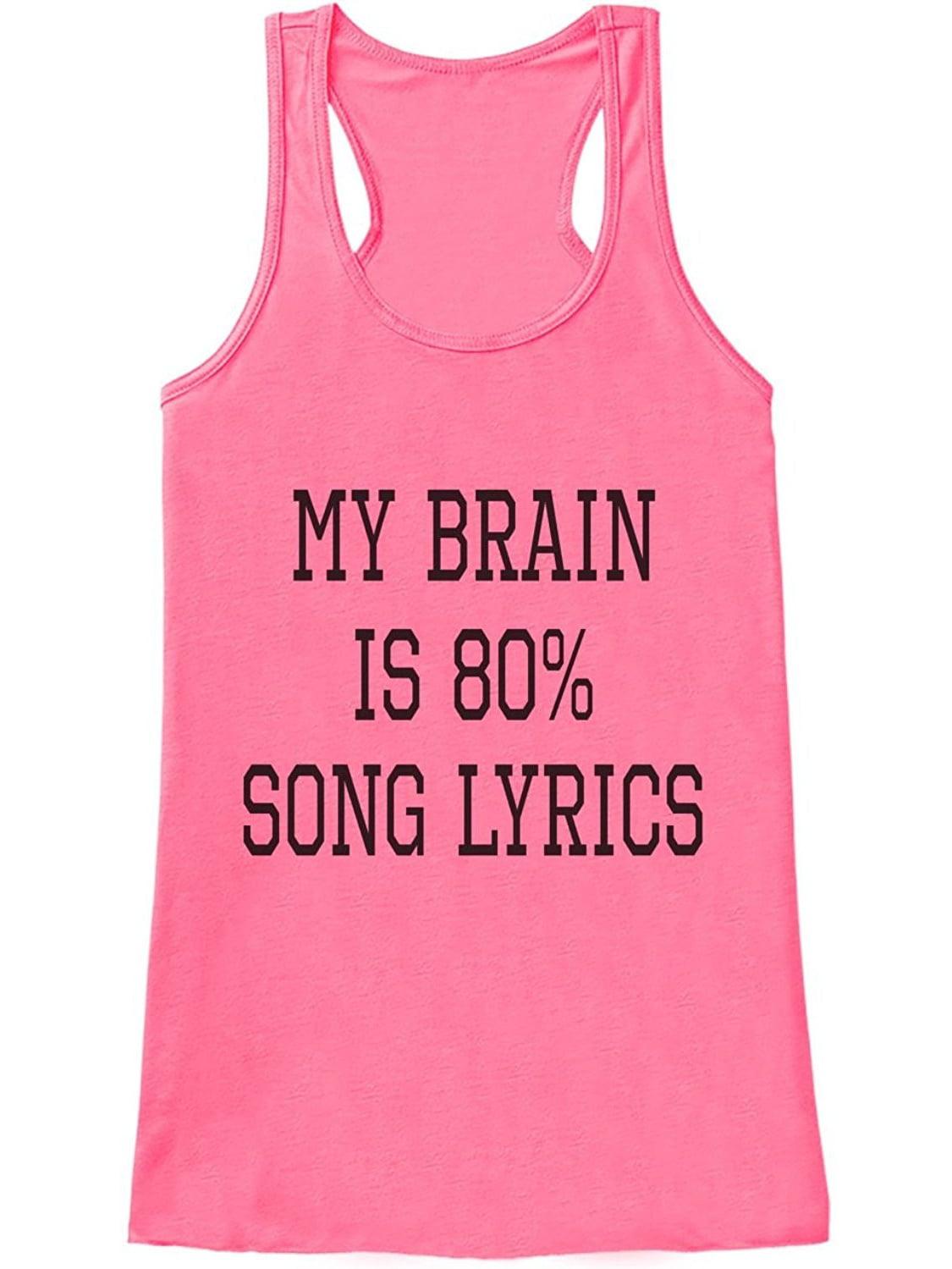 Custom Party Shop Womens My Brain Is Song Lyrics Funny Tank Top ...