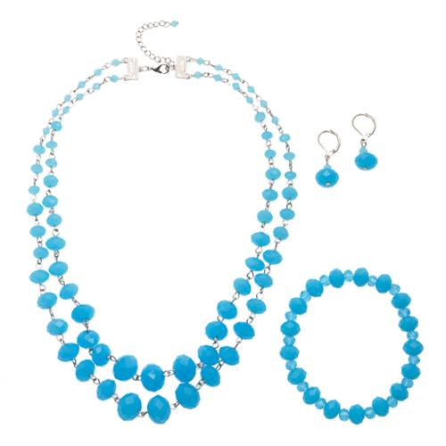 Alexa Starr Double Strand Opalescence Crystal Necklace Earring and Bracelet Jewelry Set Aqua