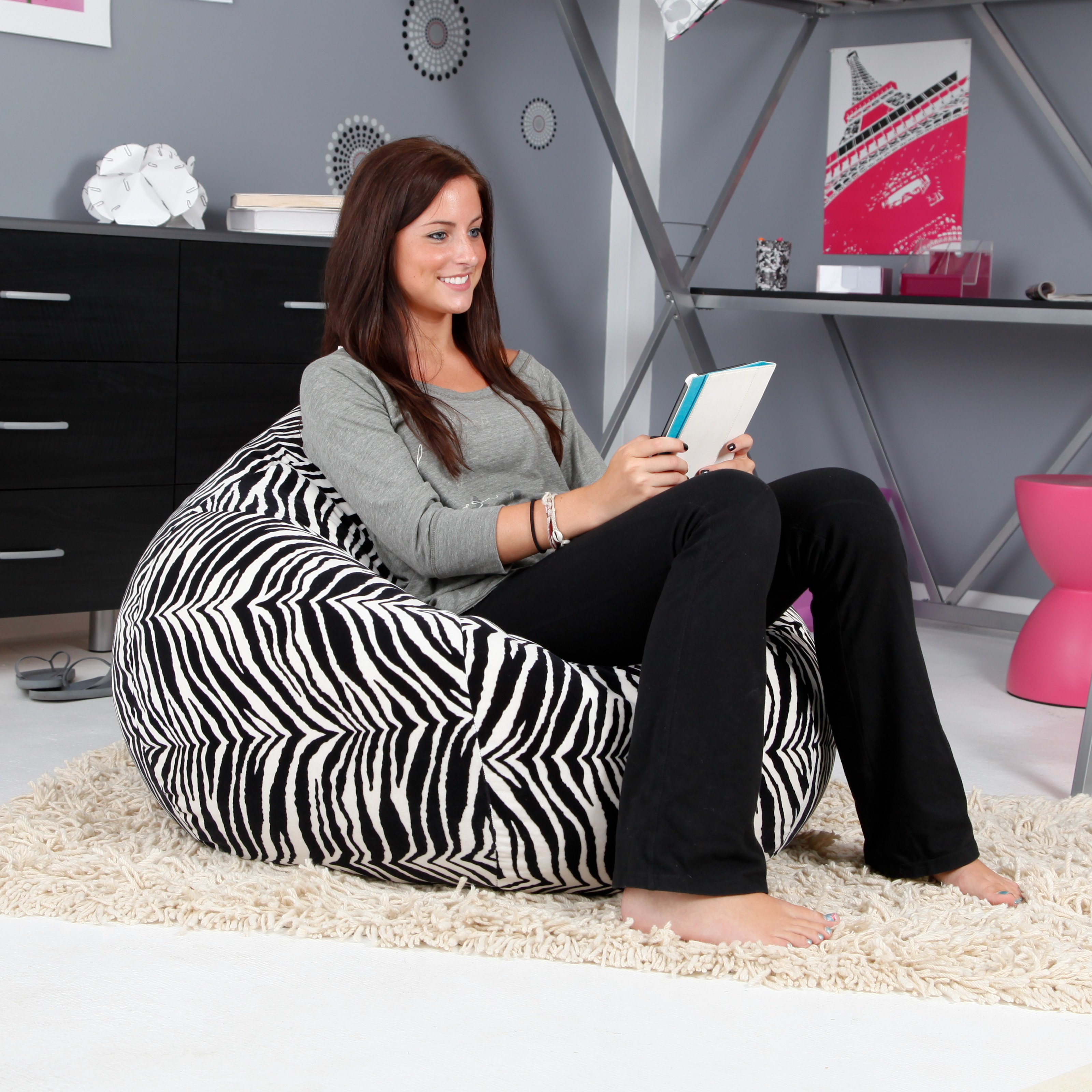 Phenomenal Gold Medal Large 128 Zebra Print Microsuede Bean Bag Ocoug Best Dining Table And Chair Ideas Images Ocougorg