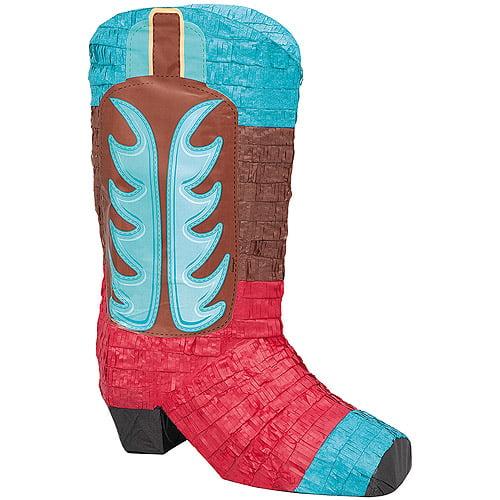 Cowboy Boot Pinata, Brown/Blue/Red