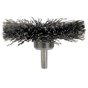 """Mounted Crimped Wheel Brushes, Carbon Steel, 20,000 Rpm, 3"""" X 0.014"""""""