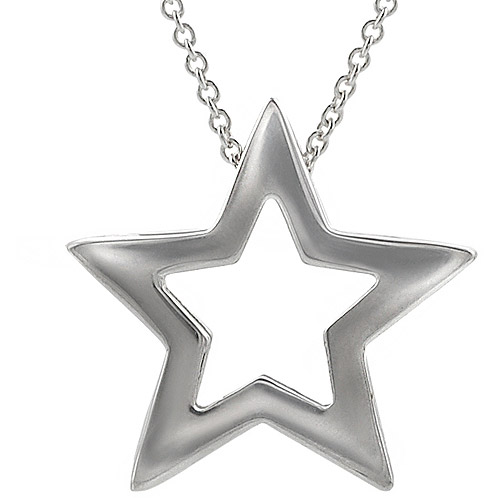 Brinley Co. Sterling Silver Cutout Star Pendant, 18""