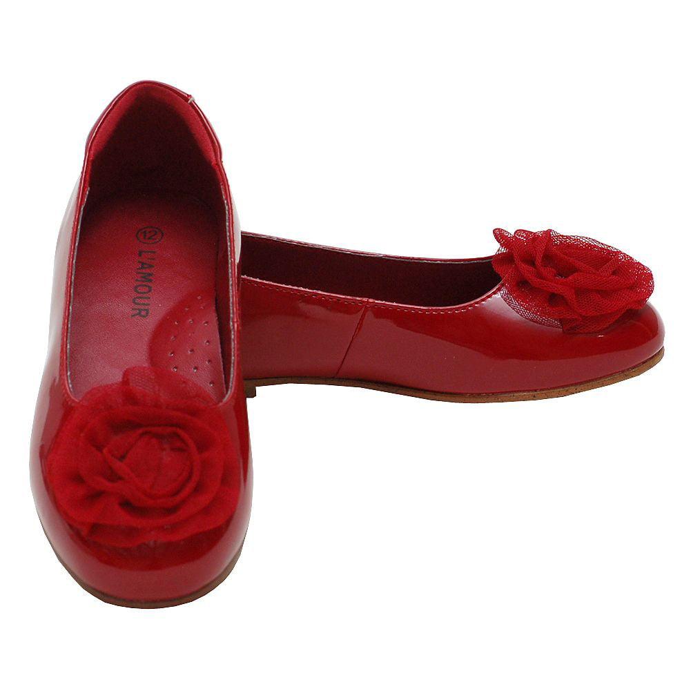 Girls Red Flower Slip On Dress Shoes