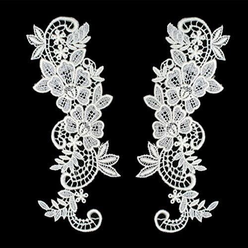 """2.75""""x8"""" Floral Venice Lace Applique Embroidered Bridal Guipure Patch Motif (2 Pieces)"""