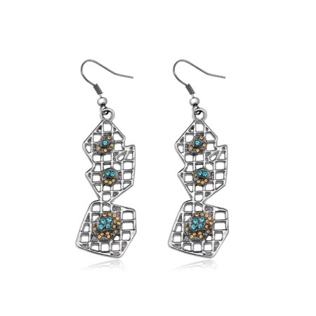 ZigiLine Unique Style Blue Dangle Earrings Made with Swarovski® Crystals - image 1 of 4