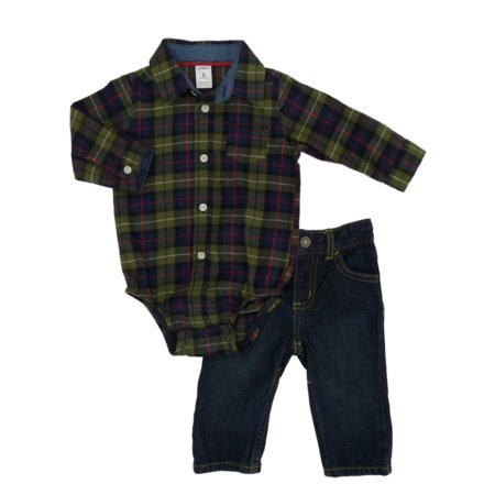 f36f561be Carters - Carters Infant Boys 2-Piece Green Plaid Flannel Creeper Shirt & Pants  Set - Walmart.com