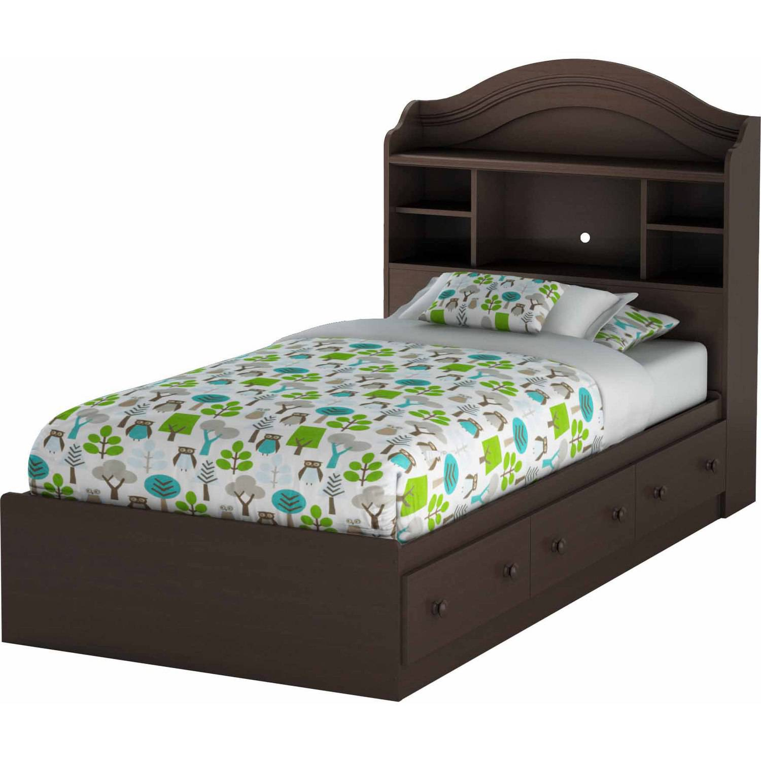 Twin bed with storage and headboard - South Shore Savannah Twin Bookcase Headboard 39 Multiple Finishes Walmart Com