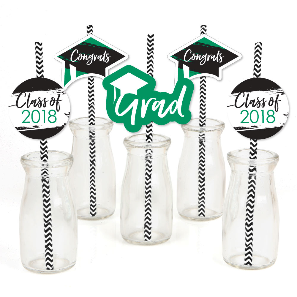 Green Grad - Best is Yet to Come - Paper Straw Decor -  Graduation Striped Decorative Straws -Set of 24