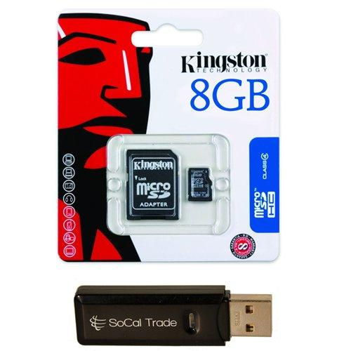 socal trade products - kingston 8 gb 8gb (8 gigabyte) class 4 microsdhc / microsd hc memory card sdc4/8gb for samsung cell phone / tablet compatible : dart, doubletime i857, droid charge i510, duostv