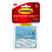 Command Clear Hooks Value, Clear, Small, 6 Hooks, 10 Strips/Pack