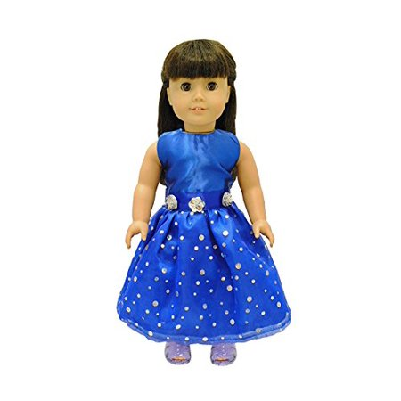 Pink Butterfly Closet Doll Clothes - Beautiful Blue Dress Outfit Fits American Girl Doll Our Generation and Other 18 inch Dolls - image 3 of 4