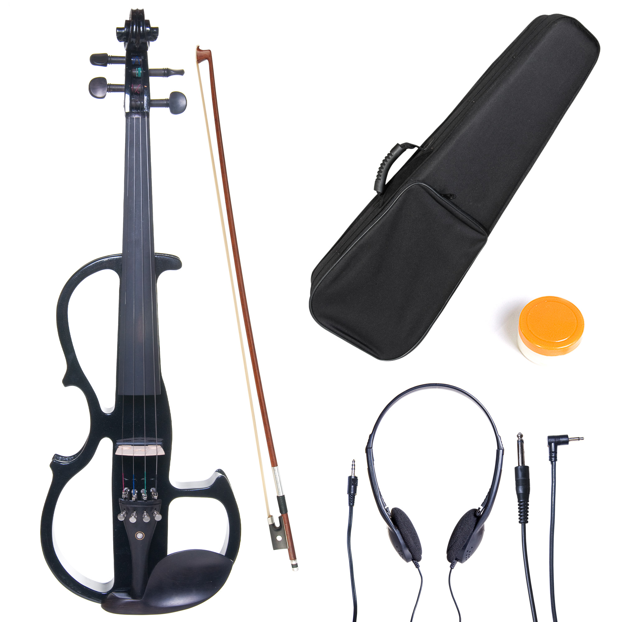Cecilio Full Size Left-Handed Solid Wood Electric Silent Violin with Ebony Fittings L4/4CEVN-L2BK Metallic Black
