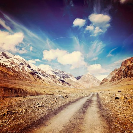 Vintage Retro Effect Filtered Hipster Style Travel Image of Road in Mountains (Himalayas). Spiti Va Print Wall Art By f9photos