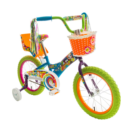 "Titan Girl's Flower Power Princess 16"" BMX Bike with Training Wheels, Doll Seat, Basket and Streamers"