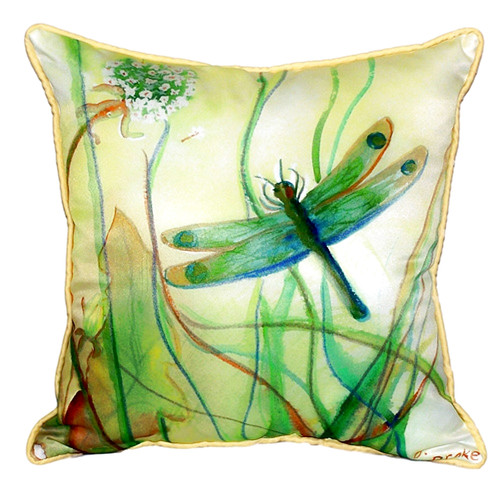 Betsy Drake Interiors Dragonfly Indoor/Outdoor Throw Pillow
