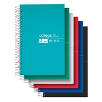 "Office Depot® Brand Notebook, 9 1/2"" x 6"", 2 Subjects, College Ruled, 400 Pages (200 Sheets), Assorted Colors"