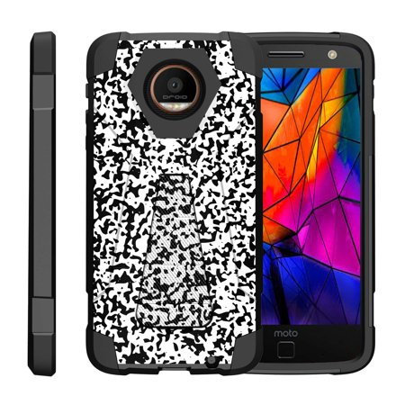 TurtleArmor ® | For Motorola Moto Z Droid Edition XT1650-01 [Dynamic Shell] Dual Layer Hybrid Silicone Hard Shell Kickstand Case - Composition Notebook (Camouflage Silicone Case)