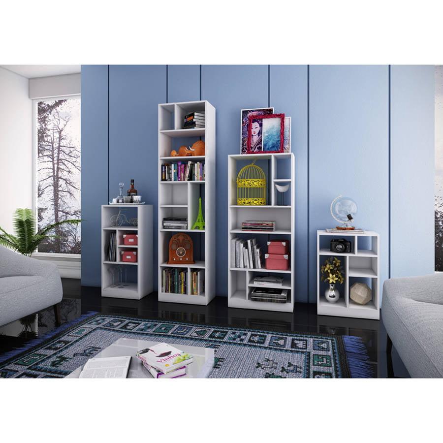 Image of Manhattan Comfort Accentuations 4-Piece Valenca Bookcase Set