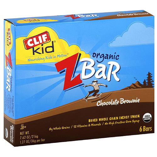 Clif Kid ZBar Organic Chocolate Brownie Energy Snack Bars (Pack of 6)