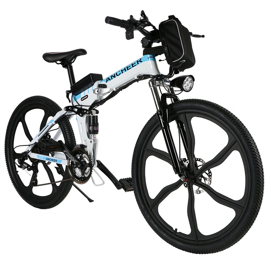 "Holiday Clearance ANCHEER 26"" 27 Speed Foldable Mountain Bike Folding Electric Power Mountain Bicycle with Lithium-Ion Battery"